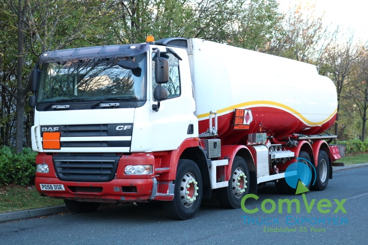 UK Truck Export DAF CF85.380 8x4 25,000L Fuel Tanker for sale Comvex 2008