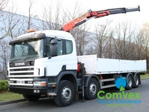 Scania 114.340 8x4 Dropside Palfinger PK12000 For Sale Export Comvex UK